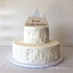 white on white buttercream wedding cake with mountains and trees. White Buttercream, Buttercream Wedding Cake, Wildflower Cake, Wedding Cake Inspiration, Wedding Ideas, Mountain Decor, Cake Decorating Videos, Grand Lake, Cake Makers