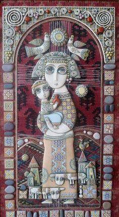 Душевное творчество армянского художника-керамиста Цолака Шагиняна - Ярмарка Мастеров - ручная работа, handmade Ceramic Wall Art, Clay Wall Art, Pomegranate Art, Clay Art Projects, Found Art, Paperclay, Assemblage Art, Naive Art, Polymer Clay Art