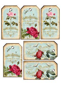 SHABBY CHIC Digital Collage Sheet Printable Download por ChikUna