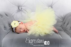 Newborn tutu in yellow with coordinating flower headband  www.facebook.com/ChloeBugBows Photo by expressions photography