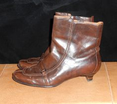 Womens Vintage Boots Brown Leather Boots Womens Boots Kitten Rare Heel Boots Bolo Boots Womens Winter Boots Womens Size 8 by ZasuVintage on Etsy