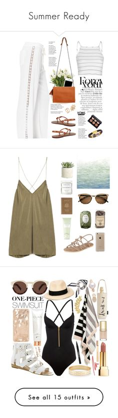 """""""Summer Ready"""" by katrina-go ❤ liked on Polyvore featuring NDI, Moschino, Glamorous, Herbivore Botanicals, Allstate Floral, Art Classics, Royce Leather, Carven, Fresh and New Look"""