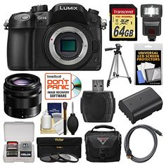 Panasonic Lumix DMC-GH4 4K Micro Four Thirds Digital Camera Body with 35-100mm Lens   64GB Card   Case   Flash   Battery   Tripod   Filters Kit ** You can find out more details at the link of the image.