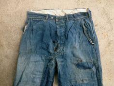 Vintage 1940s Mens Patchwork Indigo Denim Button Fly Work JEANS Pants 31x26 AMAZING Lee Levis Wrangler Destroyed