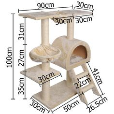 Multi Level Cat Scratching Poles Tree w Ladder Beige Diy Jouet Pour Chat, Cat Scratching Tree, Cat Gym, Diy Cat Tree, Cat Towers, Toy House, Cat Condo, Pet Furniture, Buy A Cat