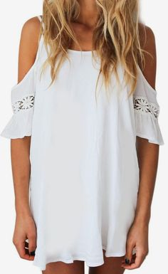 White Cut Out Cold Shoulder Lace Trumpet Sleeve Spaghetti Strap Dress