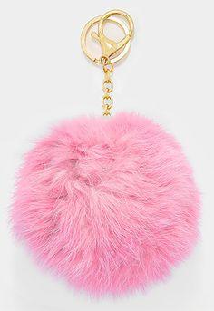 Large Rabbit Fur Pom Pom Keychain, Key Ring Bag Pendant Accessory - Light Pink