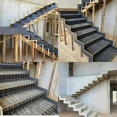 Concrete Stairs Exterior Staircases 60 Ideas For 2019 Home Stairs Design, Railing Design, Interior Stairs, Concrete Staircase, Stair Railing, Escalier Design, Stair Detail, Stairs Architecture, Modern Stairs