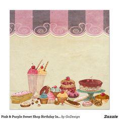 Pink & Purple Sweet Shop Birthday Invitation