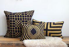 Penn Grid pillow cover hand printed in metallic gold on Indigo organic European hemp by Chanee Vijay Textiles