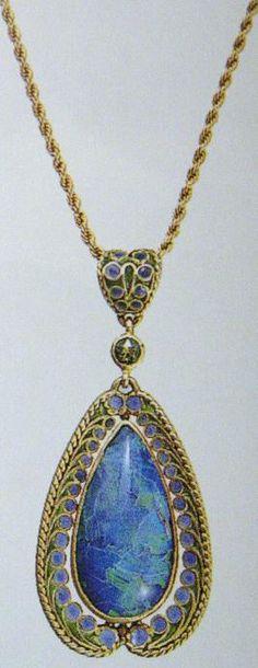A Tiffany  Co. black opal and enamel pendant necklace #manchesterwarehouse