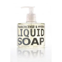 A warm blend of frankincense and myrrh notes compose this liquid soap.