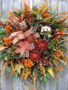 """WOOD HOLLOW"" FALL, AUTUMN, COUNTRY, OWL, RUSTIC, DOOR WREATH"
