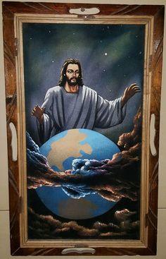 Vtg Jesus Overlooking the Earth Black Velvet Painting Religious Art Made in Mex #BlackVelvet