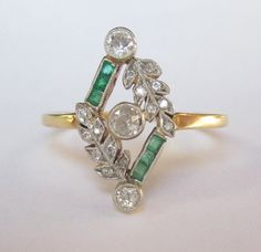 Antique Edwardian Old Mine DIamond and Emerald Leaf 18K and Platinum Engagement Ring