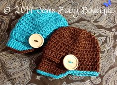 Twin Teal & Brown Baby Boy Hats with visor. by JemsBabyBoutique