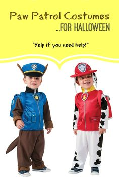 Paw Patrol costumes for the littles - Chase, Marshall, Skye, etc. Pretty highly rated, too! Might consider for Halloween. Brother Halloween Costumes, Paw Patrol Halloween Costume, Fairy Halloween Costumes, Boy Costumes, Family Halloween, Costume Ideas, Chase Paw Patrol Costume, Chase Costume, Marshall Paw Patrol Costume