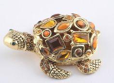 Turtle Trinket Box by Keren Kopal Faberge Egg Austrian Crystal