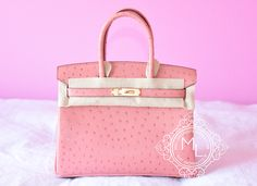 Hermes Rose Peach Pink Terre Cuite Ostrich Birkin GHW 30 Bag Kelly - NEW