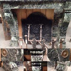 Modifier la description     cheminée empire en marbre vert de mer jambage galbé à enroulements ,pieds griffe . XIX siècle .