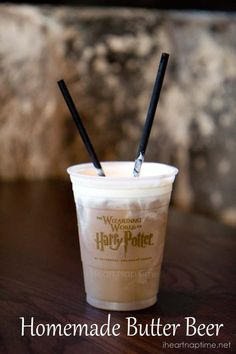 Homemade Butter Beer Ingredients: 1 quart vanilla ice cream 1/4 cup butterscotch syrup 32 oz cream soda 1/2 cup ice Directions: Place ice cream, ice, butterscotch and cream soda in a blender. Mix until combined. Serve in cold glasses and top with whipped cream if desired