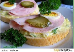 A typical view in any czech can - open top sandwiches - admittedly I have never had one! Must remedy that obviously. Czech Recipes, Ethnic Recipes, Healthy Snacks, Healthy Recipes, Snack Recipes, Cooking Recipes, Food 52, Brunch, Appetizers
