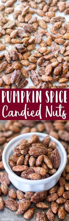 These sugared almonds and pecans are candied with a blend of pumpkin pie spice, white sugar, and brown sugar to make the most irresistible snack! Candied nuts are the ultimate fall snack, and this Pumpkin Spice Candied Nuts recipe is SO simple! Pumpkin Recipes, Fall Recipes, Holiday Recipes, Appetizer Recipes, Snack Recipes, Cooking Recipes, Dessert Recipes, Candy Recipes, Syrup Recipes