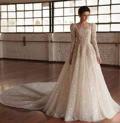 wedding dress winter chana marelus fall 2019 bridal long puff sleeves square straigh across neckline fully embellished a line ball gown wedding dress glitzy princess romantic cathedral train mv -- Chana Marelus Fall/Winter 2019 Wedding Dresses Mermaid Wedding Dress With Sleeves, Perfect Wedding Dress, Mermaid Dresses, Evening Gown With Sleeves, Mermaid Mermaid, Vintage Mermaid, Elegant Wedding, Hijab Wedding Dresses, Designer Wedding Dresses