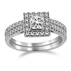1.45 Ct Square Princess & Round Cut VVS1 10K Gold Halo Engagement & Band Ring by JewelryHub on Opensky