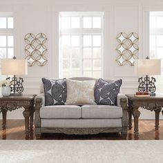Sylewood Loveseat Slate - Signature Design by Ashley, Gray Loveseat Sofa, Sofa Set, Chair Side Table, At Home Store, Signature Design, Toss Pillows, Chair And Ottoman, Fabric Sofa, Leather Sofa