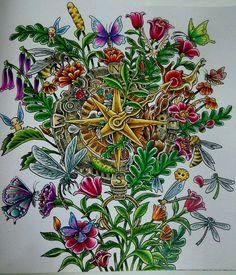 Compass. #imagimorphia #kerbyrosanes  #mycreativeescape #adultcoloringbook #Colleen #coloredpencil #doodle #flowers