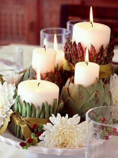 DIY asparagus, artichoke, and green-bean candle holders. Beautiful for cocktail hour. Rustic Wedding- Wine Country Wedding