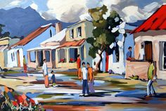 Kerkstraat by Carla Bosch South African Artists, Z Arts, Landscape Paintings, Landscapes, Types Of Art, Abstract Backgrounds, Artist At Work, Paper Art, Cool Art