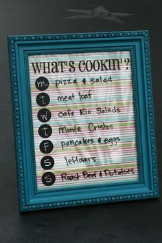 "cute idea to help eliminate the question ""What's for dinner?"""
