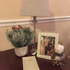 Snow bird from Target. Polar bear tray from Bath & Body Works. Plant from Home Goods. Picture frame from Target.