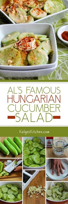 Al's Famous Hungarian Cucumber Salad - This tasty salad favorite is low-carb, Keto, low-glycemic, gluten-free, and South Beach Diet friendly. Salad Recipes, Diet Recipes, Cooking Recipes, Healthy Recipes, Juicer Recipes, Low Carb Side Dishes, Side Dish Recipes, Hungarian Cucumber Salad, English Cucumber
