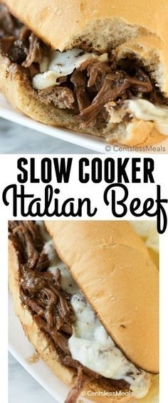 and easy to prep and loaded with flavor! This slow cooker Italian Beef is a delicious and a great way to feed a crowd!Quick and easy to prep and loaded with flavor! This slow cooker Italian Beef is a delicious and a great way to feed a crowd! Italian Beef Recipes, Slow Cooker Italian Beef, Slow Cooker Beef, Slow Cooker Recipes, Cooking Recipes, Italian Roast Beef, Crockpot Meals, Cooking Tips, Italian Cooking