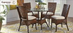 ESPRESSO-DINING-SET Espresso Dining Set, Side Chairs, Chair, Rattan, Side Chairs Dining, Coffee And End Tables, Rectangular Table, Seating Arrangements, Dining Room Set