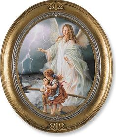 Guardian Angel With Children Print in Oval Frame – Beattitudes Religious Gifts