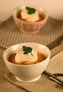 Crème de carottes au lait de coco, anis et citron vert, émulsion coco au jus cuisiné