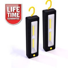 2 PACK- ULTRABRIGHT COB LED WORKLIGHT INSPECTION LAMP MAGNETIC TORCH + BATTERIES