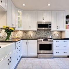 White Kitchen Cabinets With Black Countertops Beautiful Kitchen Inspiration From Pinterest  Black Ovens .