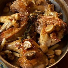 Chicken with Mushrooms Marsala - this is a great recipe. Again I stick to the boneless chicken thighs rather than the whole chicken. I tend to reduce the amount of chicken broth just so my chicken is not sunk in liquid. I highly recommend serving this with wild rice!