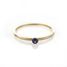 Lapis lazulite brass ring