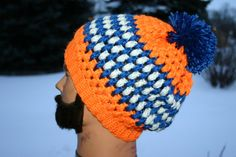 Neon Orange/Blue/White Crochet Slouchy Hat  Puff by OneInEssence, $14.00