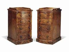 A PAIR OF WALNUT AND BURR-WALNUT BEDSIDE CABINETS