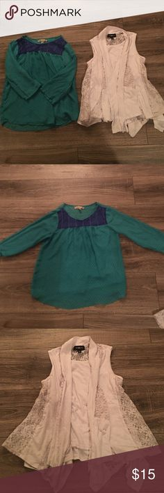 Girl Top Bundle Girl Top Bundle- Size Large: Both of these tops were gently worn. They do not have any stains or tears in the fabric. The blue/green top does come with an undershirt.  The brands include Speechless and Amy Byer. They come from a smoke free home. Amy Byer Shirts & Tops Blouses