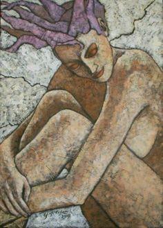 Sogno - Pittura,  50x70 cm ©2009 da Costan Giosi -                            Nudo, donna figura nudo olio
