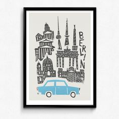 Berlin City Art Cityscape Print Traveller Gift Dad by FoxAndVelvet