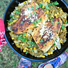 Southwestern Blackened Trout with Hatch Green Chile Saute - Enjoy heart-healthy fish and the spicy flavors of the southwest with this easy-to-make, one-dish dinner. Paleo friendly, can swap summer squash for corn - thefitfork.com